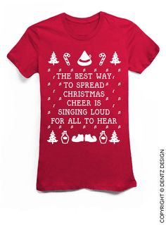 """Coupon code """"PINTEREST"""" Best Way To Spread Christmas Cheer - Ugly Christmas Shirt - Red Tshirt by DentzDesign"""