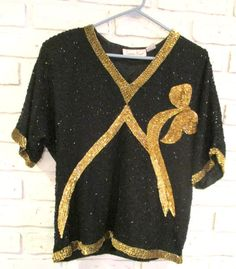 8dba52467228e Vintage Black Silk Beaded Sequin Blouse by Laurence Kazar Evening Size  Medium Gold Bow