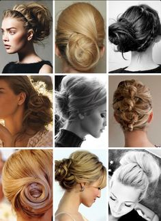 Wedding hairstyle possibilities for Mother of the Bride with longer hair.  Plenty of Buns or up-do's that aren't too stiff looking.
