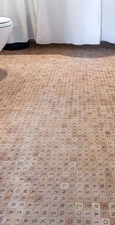 #DIY Scrabble Tile Floor ❤︎ Love this Idea .. I would add hidden words :0)