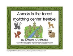 Animals in the forest matching center freebie!