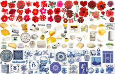 Dutch flag made from flowers, cheese and Delft blue by MastaBaba, via Flickr