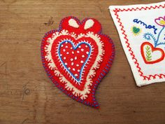 Portuguese embroidered hearts