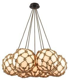 Elk Lighting Coastal Inlet 7 Light Chandelier In Oil Rubbed BronzeRope wrapped opal white glass sphere pendant with oil rubbed bronze finished hardware. Coastal Chandelier, Bronze Chandelier, Chandelier Lighting, Coastal Lighting, Globe Chandelier, Nautical Lighting, Nautical Art, White Rope, Multi Light Pendant