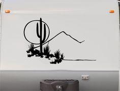 "RV Camper Vinyl Decal Sticker Graphic Cactus Desert Scene Custom Text 23"" Tall x 36"" Long"