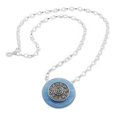 Scheibe Aquarell acryl 36mm hellblau Kombination   Ring Ding created by Silberwerk