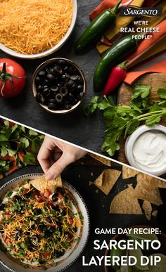 Promoted by Sargento®. Win Game Day with this Mexican-inspired dip made with layers of delicious ingredients like hearty refried beans, zesty salsa, chopped tomato topped with sour cream, sliced olives, cilantro and Sargento® Chef Blends® Shredded Nacho & Taco Cheese. It's a guaranteed crowd-pleaser! To find each recipe visit Sargento.com.