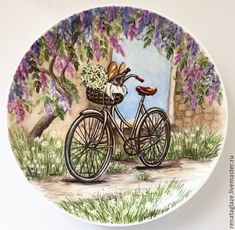 Plate Summer walk - buy or order in the online store at the Fair of Masters Decoupage Plates, Decoupage Vintage, China Painting, Ceramic Painting, Pottery Painting Designs, Canvas Art, Small Canvas, Plate Art, Art Courses