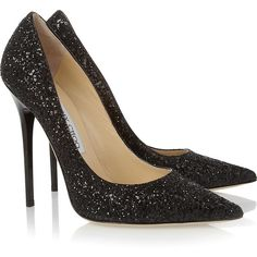 Jimmy Choo Anouk glitter-finished leather pumps (1.935 BRL) ❤ liked on Polyvore featuring shoes, pumps, heels, sapatos, high heels, black, glitter shoes, high heel shoes, black leather pumps and jimmy choo pumps