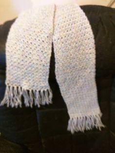 scarf Beige crocheted, boho, bohemian, retro, neutral, gift, unisex, fringe, tassled 52 by KudzuCatCreations on Etsy