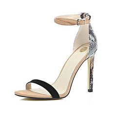 Beige snake print barely there sandal heels £45.00