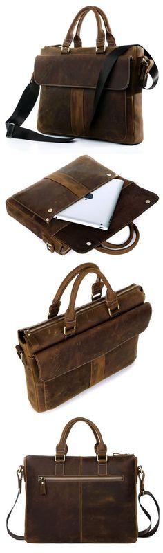 """Men's Vintage Leather Briefcase / Leather Messenger Bag / 13"""" 15"""" MacBook 14"""" 15"""" Laptop Bag"""