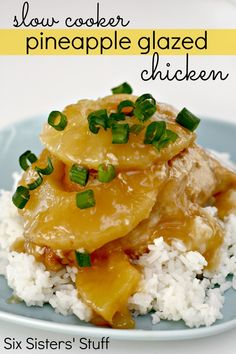 Slow Cooker Pineapple Glazed Chicken   Ingredients:  6 boneless, skinless chicken breasts  1 (20 oz) can pineapple slices, juice reserved  2/3 cup brown sugar  1/4 cup lemon juice  2 tablespoons soy sauce  1/2 teaspoon ground ginger  1/2 cup cornstarch (could add less if you want sauce to be thinner)  1/2 teaspoon red pepper flakes (optional, more or less depending on heat level you like)