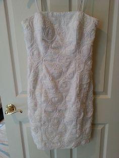 e48f3fff0d3 Calvin Klein White Rosette Dress - Size 6- WORN ONCE  CalvinKlein  Cocktail  Rosettes