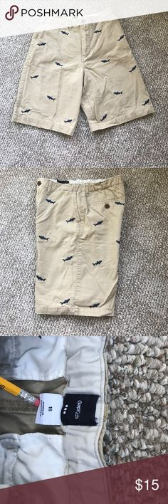 afcd0759df5 Gap boys shark embroidered shorts Adorable khaki with blue sharks. Size 16  with button adjustable