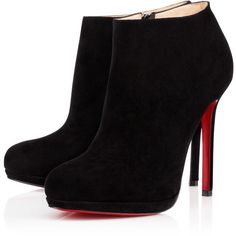 Christian Louboutin Bella Top ($1,095) ❤ liked on Polyvore featuring shoes, boots, ankle booties, heels, ankle boots, black, black platform booties, black suede bootie, platform ankle boots and high heel bootie
