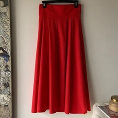 Skirts | Red Tea Length Skirt | Poshmark Tea Length Skirt, Skirts With Pockets, Lady In Red, Midi Skirt, Ootd, Formal Dresses, Things To Sell, Style, Fashion