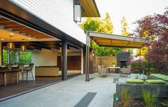 terrasse überdachungslösungen freistehend garten stahl holz kamin