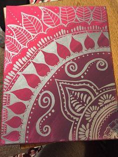 8x10 Painted Henna Canvas by DohseDaisy on Etsy