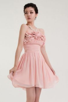Lovely with petal decoration neckline chiffon above the knee bridesmaid dress - Wedding Inspirations