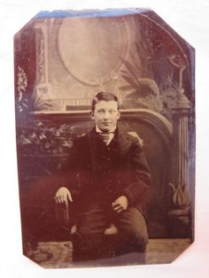 Tintype Photograph circa 1870 Young Teen Boy Sitting in a Chair | eBay