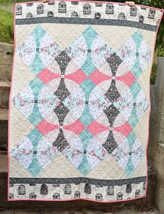 Wonderland Quilt (with flowering snowball template and link to tutorial) made using Katarina Roccella's new collection