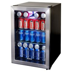 The NewAir AB-850 holds 84 beverage cans - Stainless Steel freestanding beverage cooler