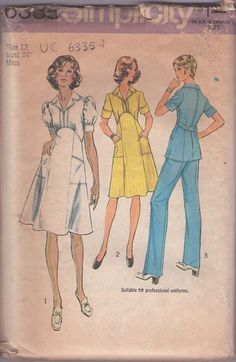 MOMSPatterns Vintage Sewing Patterns - Simplicity 6335 Vintage 70's Sewing Pattern MARVELOUS Disco Era Professional Nurse Uniform Dress, Curved Waist, Flared Skirt, Tunic Top & Pants