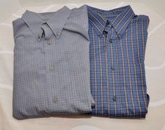 Lot of 2 men's Eddie Bauer Plaid button front Long sleeve cotton shirts Large #EddieBauer #ButtonFront