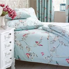 Stylish and contemporary duvet covers available from Dunelm. Our bed linen range includes a variety of colours and patterns, all made with high quality material and in every size, from single to king size duvet covers. Bed Linen Sets, Bed Sets, Duvet Sets, Duvet Cover Sets, Blue Duvet Covers, Duck Egg Blue Duvet Cover, Duck Egg Bedroom, Duck Egg Blue And Pink Bedroom, Shabby Chic Bedrooms On A Budget