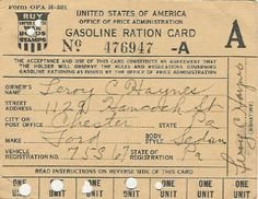 World War II Era Ration Cards ... Gas Ration Card