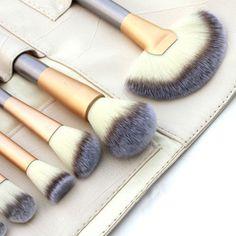 Women 12PCS Pro Make-Up Brushes Foundation Powder Blush Eyeshadow Brush w/ Pouch Bag