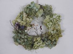 F+studio/増田由希子/あじさいの鳥の巣リース Floral Wreath, Wreaths, Garden, Flowers, Home Decor, Floral Crown, Garten, Decoration Home, Door Wreaths