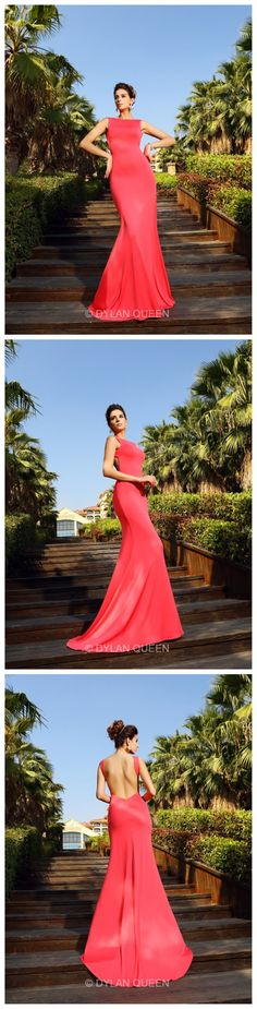 Red Trumpet/Mermaid Bateau dress with backless #dylanqueen