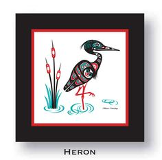 "$75.00 ""Heron"" Framed 8 X 8 Giclée Print Northwest Native American design by Israel Shotridge.  #Heron #Northwest #Bird #NativeArt #Alaska #tlingit #giclee #NativeAmerican #Washington"
