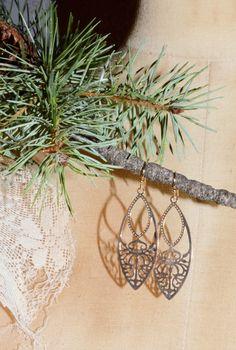 $10.00 Gold or Silver Filigree Dangl Drop Earrings, pierced fish hook, cut-out, delicate, lightweight. by JanysJewelryBox on Etsy