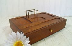 Vintage Wooden Jewelry Box with Pull Out Drawer  by DivineOrders, $34.00