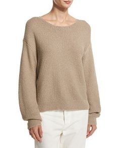 VINCE Textured Cotton Pullover, Light Brown. #vince #cloth #