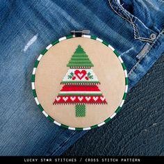 Weihnachtsbaum gezählt Cross Stitch Muster PDF – Weihnachten Geschenke basteln – Xmas Holiday Muster-skandinavisch - Cute Weihnachten Dekor-DIY