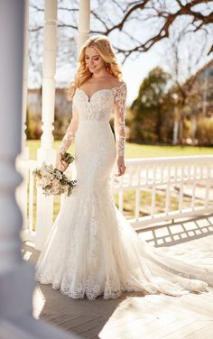 A unique mix of fabrics and textures begin your forever in style and romance with this wedding dress with sleeves from Martina Liana.