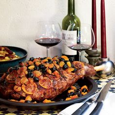 Spiced Leg of Lamb with Olives, Apricots and Lemons Recipe | Food & Wine