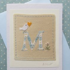 Ribbon Embroidery M Alphabet Card - Letter P with dove, heart and daisy Freehand Machine Embroidery, Free Motion Embroidery, Fabric Cards, Fabric Postcards, Embroidery Letters, Embroidery Applique, Embroidery Cards, Sewing Cards, Alphabet Cards