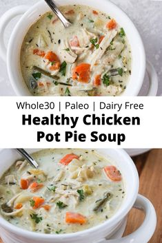 Chicken Pot Pie Soup Paleo) This Healthy Chicken Pot Pie Soup has all of the flavors of the classic comfort food casserole! It's dairy free, gluten free, paleo, and I've included a Keto option, as well!Healthy Chicken Pot Pie Soup Paleo) This Health. Whole Foods, Paleo Whole 30, Paleo Recipes, Whole Food Recipes, Paleo Meals, Paleo Cauliflower Recipes, Paleo Casserole Recipes, Whole 30 Chicken Recipes, Easy Whole 30 Recipes