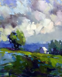 Cloudy and Cool by Trisha Adams Oil ~ 20 x 16 Piccole dimensioni. Abstract Landscape Painting, Landscape Art, Landscape Paintings, Abstract Art, Contemporary Landscape, Watercolor Landscape, Abstract Paintings, Landscape Materials, Landscape Fabric