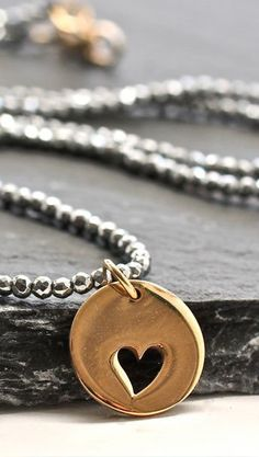 Gray Pyrite Sparkly Heart Necklace