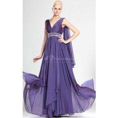 A-line V-neck Long Regency Chiffon Bridesmaid Dresses(BD509)