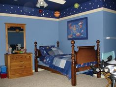 Like the dark blue top and lighter blue lower - would be easy to create the solar system on the ceiling.