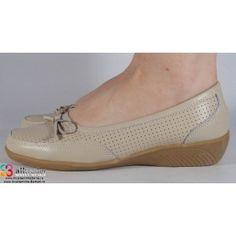 Pantofi platforma bej de vara perforati piele naturala dama/dame/femei (cod B721104)