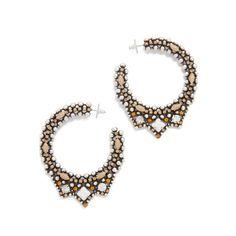 DANNIJO Virgo Earrings ($445) ❤ liked on Polyvore featuring jewelry, earrings, hoop earrings, multi color earrings, tri color earrings, colorful hoop earrings and beading hoop earrings