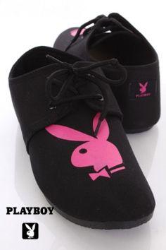 Black Fuchsia Canvas Playboy Bunny Logo Laced Flats